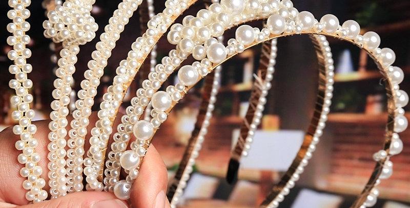 2021 New Luxury Big Pearl Hairbands Women Bow Sunflower Hair Hoops