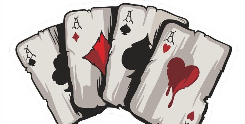 YJZT 15.2CM*9.8CM  Cartoon Playing Cards a Decal PVC