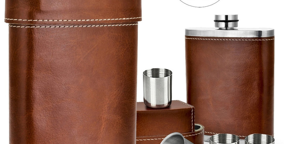 GENNISSY 8oz Portable Leather Covered Hip Flask+3 Stainless Steel Caps+1 Funnel