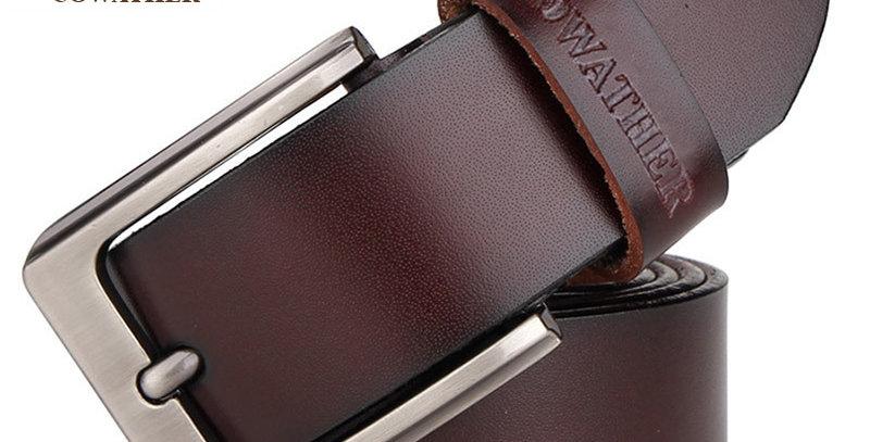 COWATHER Men Belt Cow Genuine Leather Designer Belts for Men