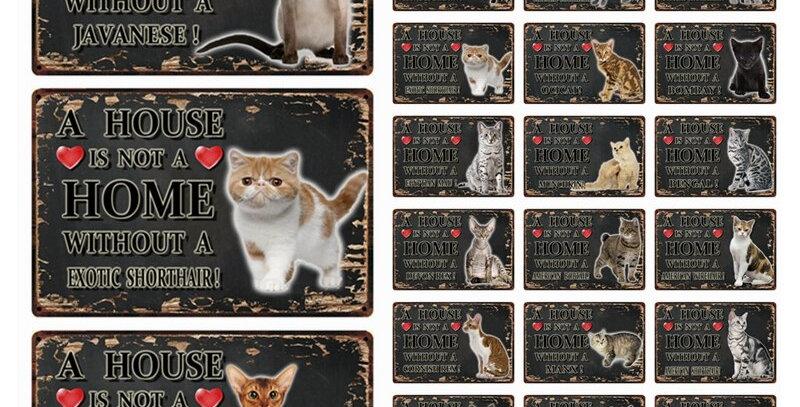 Pets Cat Ocicat  Metal Sign Tin Poster Home Decor Bar Wall Art