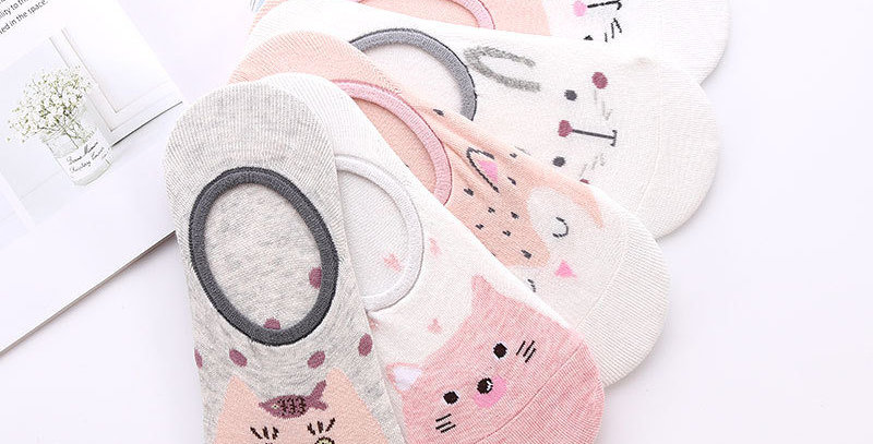 5 Pairs Cute Animal Cotton Socks Female