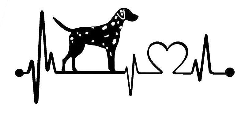Dalmatian Heartbeat Dog Car Stickers