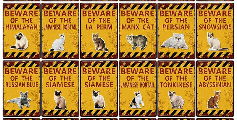 Pet Cat Beware Metal Sign Home Decor Bar Wall Art Painting