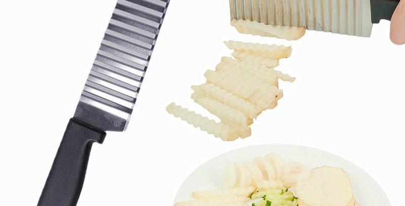 Stainless Steel Slicer Dough Vegetable Fruit Crinkle Wavy Slicer Knife