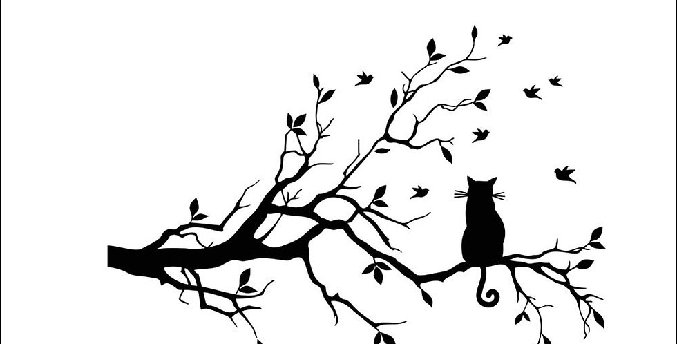 Cute Kitty on Tree Branch Wall Sticker