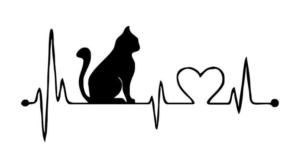 Funny Cartoon Cat Heartbeat Decorative Car Sticker Waterproof