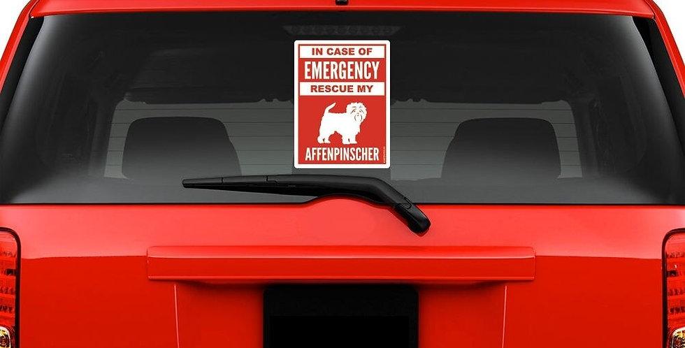 For in Case of Emergency Rescue My Affenpinscher Windshield Sticker