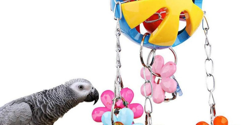 Toy Swing Stand Budgie Parakeet Cage Colorful Beads Bells Chew Swing Toys