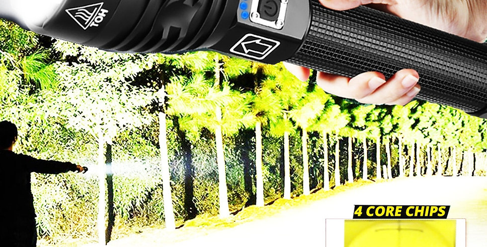 LED Flashlight Zoom USB Rechargeable Power Display