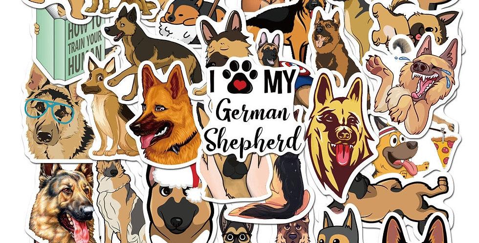 50pcs Cute Animal German Shepherd Dog Stickers for Scrapbooking