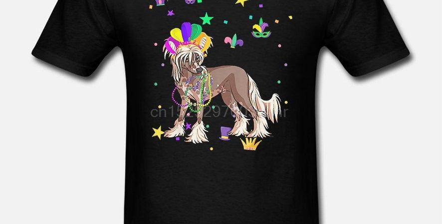 Men T Shirt Chinese Crested Dog Mardi Gras T Shirt P Women T-Shirt