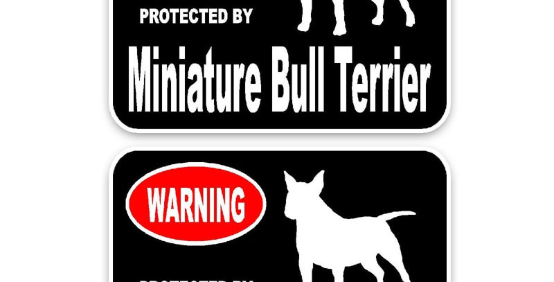 Miniature Bull Terrier Dog Car Stickers