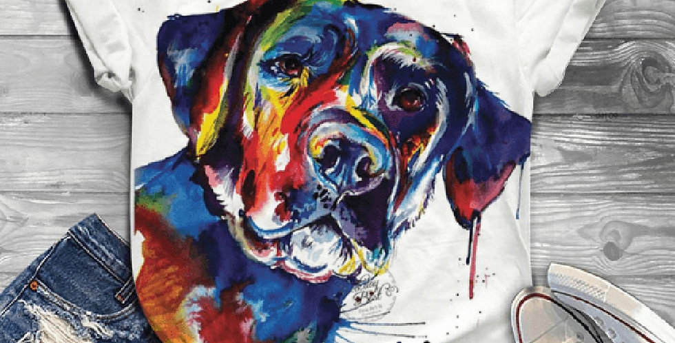 Plus Size Women T-Shirts Short Sleeve Tie-Dye Dog