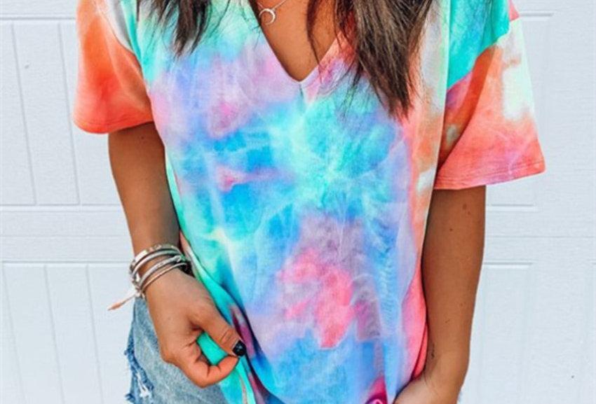 Hollow Out T-Shirt Tie Dye Tops Tee Women Summer Short Sleeve