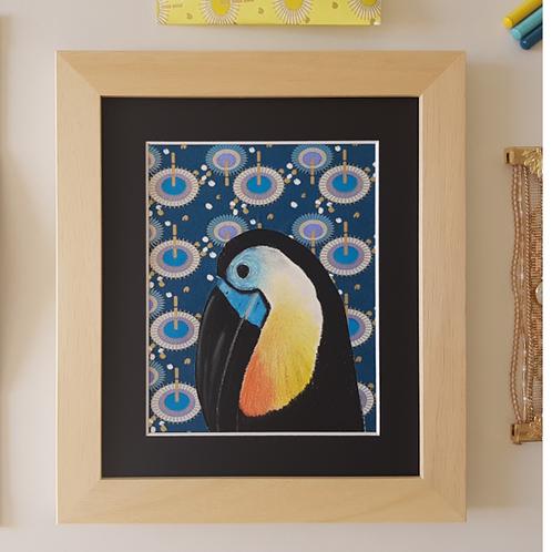 Tableau toucan bleu , papier, Fée Muguette, les créateurs de saison