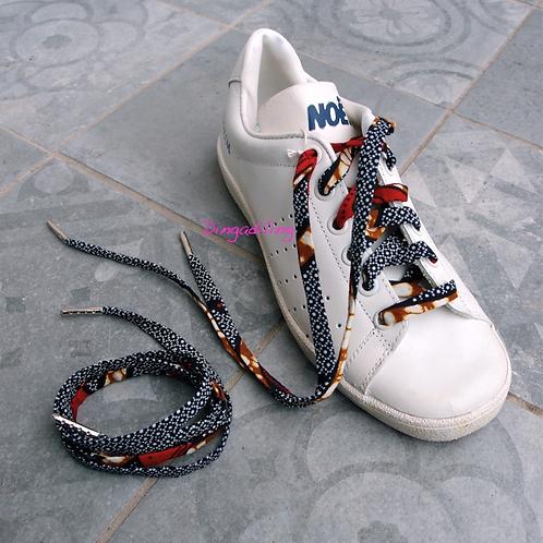 Lacet chaussure-wax- bleu marine et rouge-Dingadiling-Les créateurs de saison