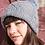 Bonnet avec pompon, laine peigné, gris acier, tricoté main, De maille en fille, Boutique Les créateurs de saison, Paris