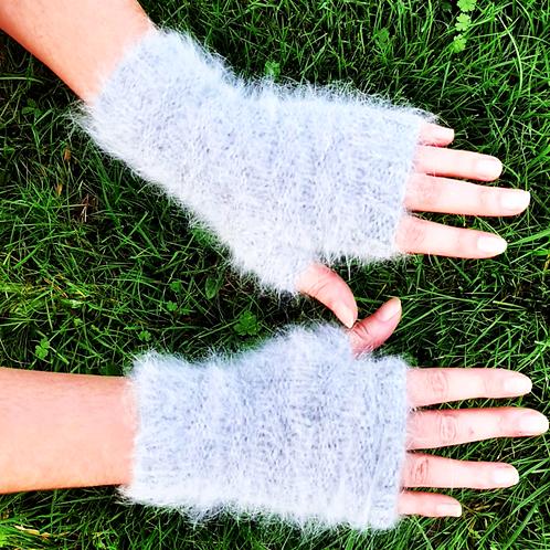 Mitaines-Angora-grises-de maille en fille-les créateurs de saison