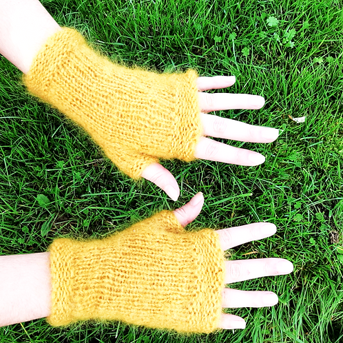 Mitaines mohair, moutarde, tricoté main, De maille en fille, les créateurs de saison
