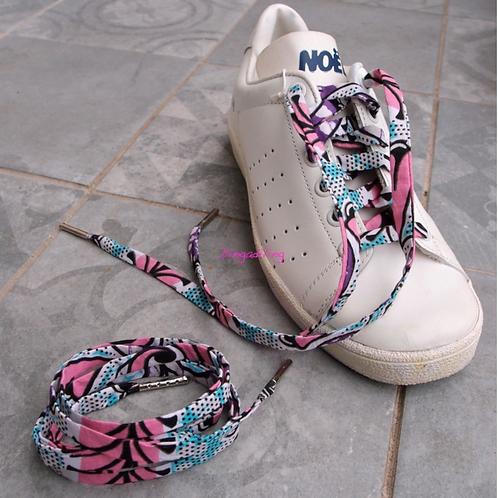 Lacets chaussures-wax-rose et bleu pale-Dingadiling-les créateurs de saison