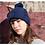 Bonnet avec pompon, laine peigné, bleu indigo, tricoté main, De maille en fille, Boutique Les créateurs de saison, Paris