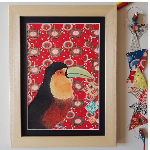 Tableau toucan joueur, papier, fée muguette, les créateurs de saison