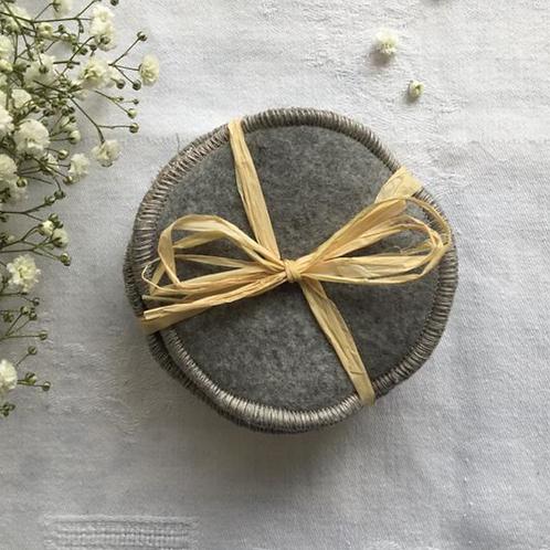 Disque coton délicatesse, gris, éponge et polaire coton bio, gris, Hissala, Boutique Les créateurs de saison