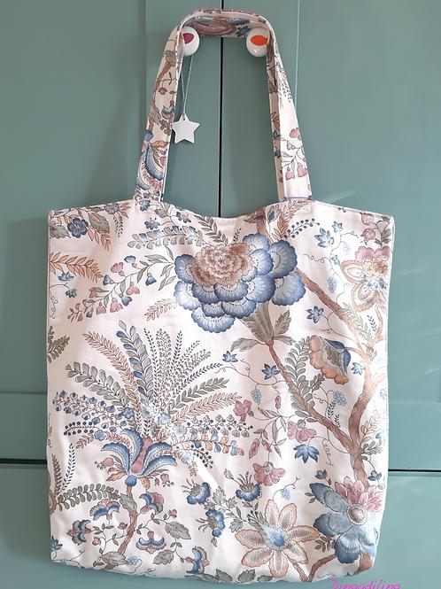 Tote bag, tissu coton upcyclé, bleu, Dingadiling, les créateurs de saison Paris