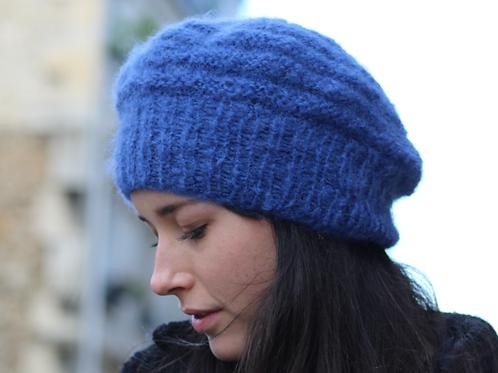 Béret, laine, mohair, bleu pacifique, tricoté main, De maille en fille, Boutique Les créateurs de saison, Paris