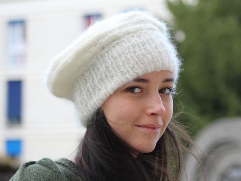 Béret, laine, mohair, blanc, tricoté main, De maille en fille, Boutique Les créateurs de saison, Paris