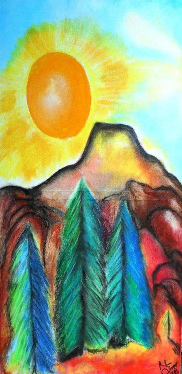 Tree Sky II mixed media on canvas