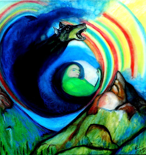 Pachamama Giving Birth to Light mixed media on canvas