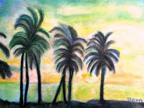 Beach Scene mixed media on canvas
