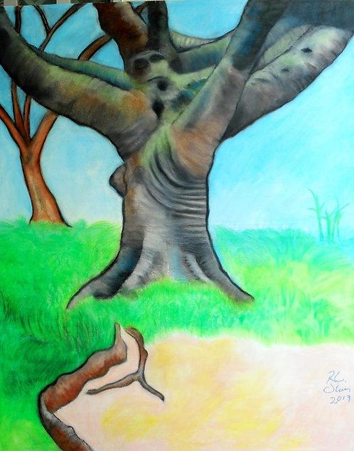 Dog Park Tree II mixed media on canvas RLO