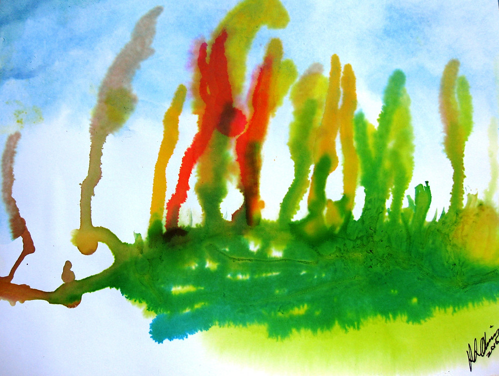 Serpentine Feathers ink and watercolor RLO Mar 2015.JPG