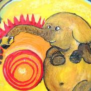9. Circus Snaky Elephant mixed media on