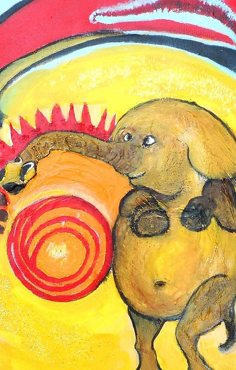 Circus Snaky Elephant mixed media on