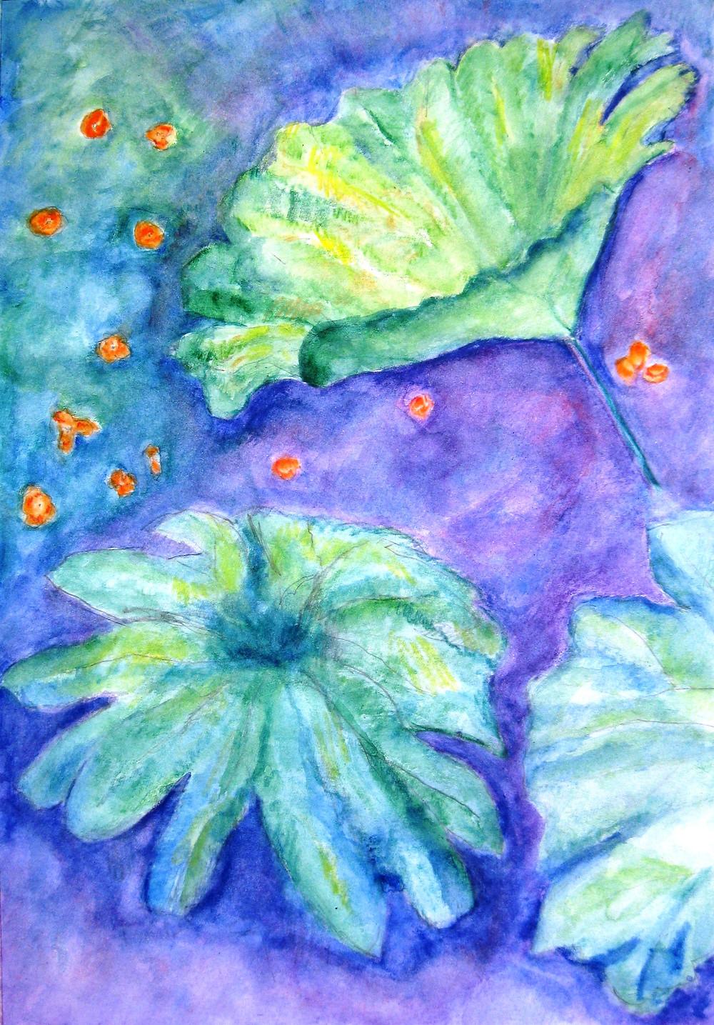 Pseudo Elephant Ear Botanical Series watercolor RLO Mar 2015.JPG