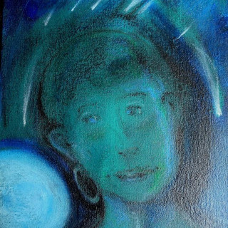 14. Girl With Stars for Hair mixed media