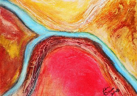 Blue Threads in the Desert oil pastel