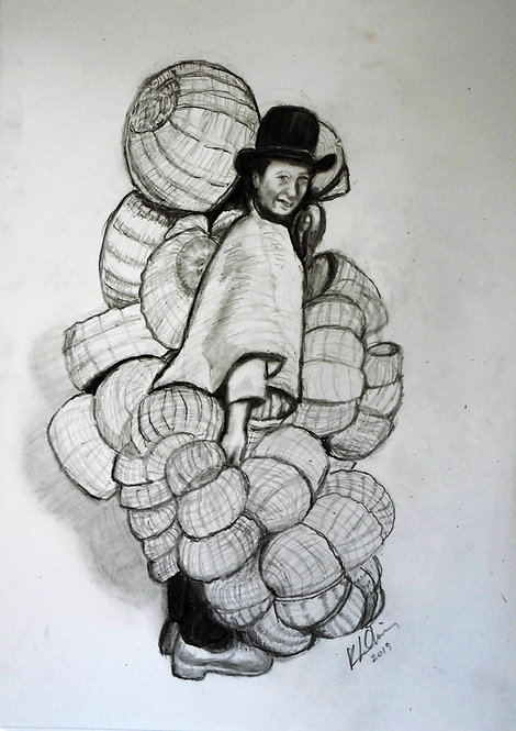 Boyaca Basket Man charcoal and graphite on