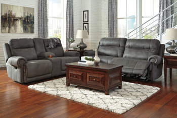 Austere Reclining Sofa and Loveseat with Console