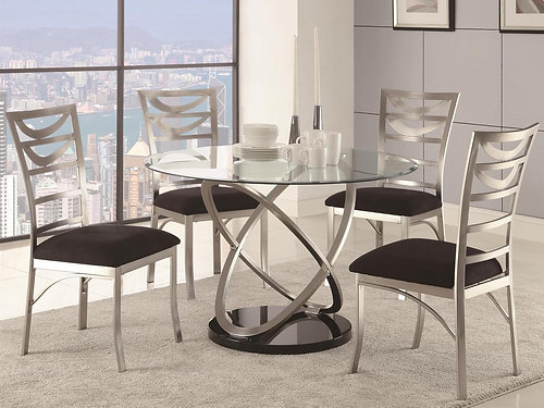 Modern Design In A Bold Contemporary Style For Your Informal Dining Area.  Stunning U0027atomu0027 Shaped Base With Oval Motif. Oval Tempered Glass Tabletop  Provides ...