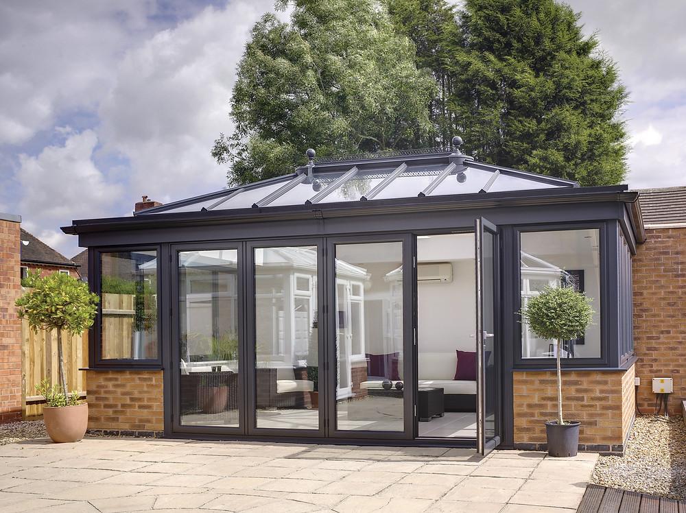 dark grey orangery - dark grey modern conservatory installation