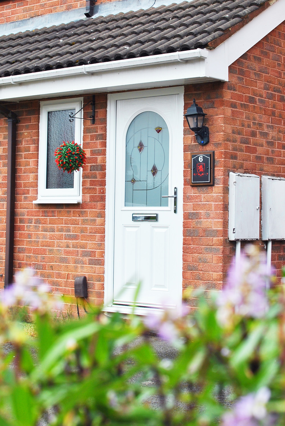 White Composite Door with Curved Arch Glass