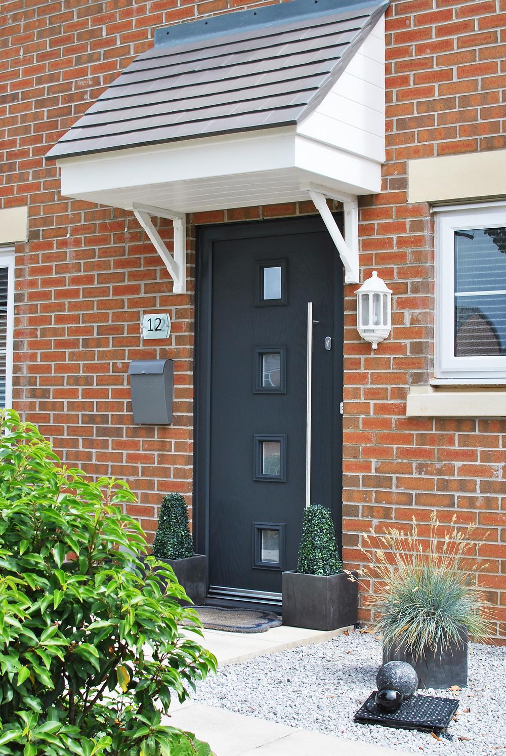 Modern Anthracite Grey Composite Door with Bar Handle