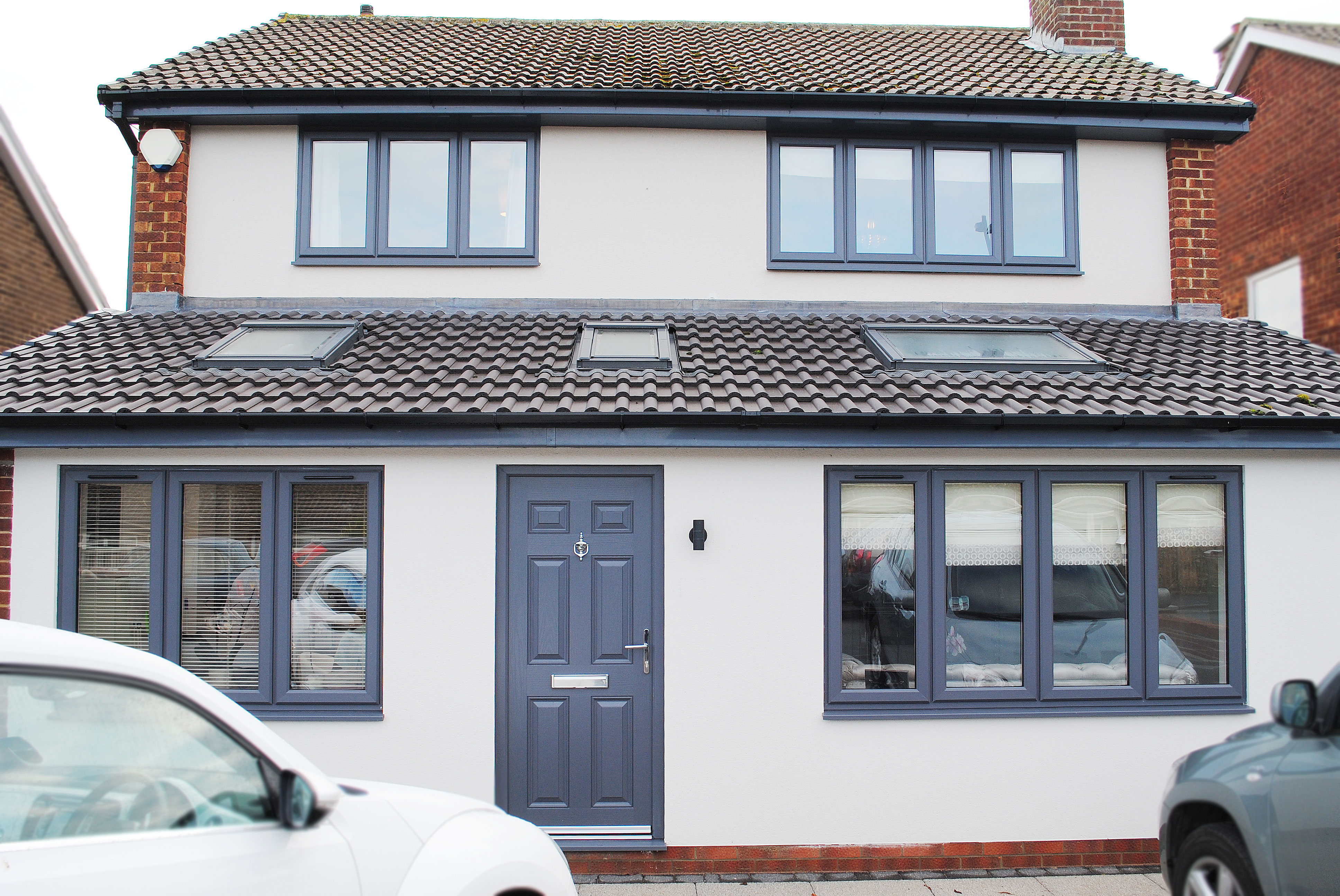 Full home of Grey Casement Windows