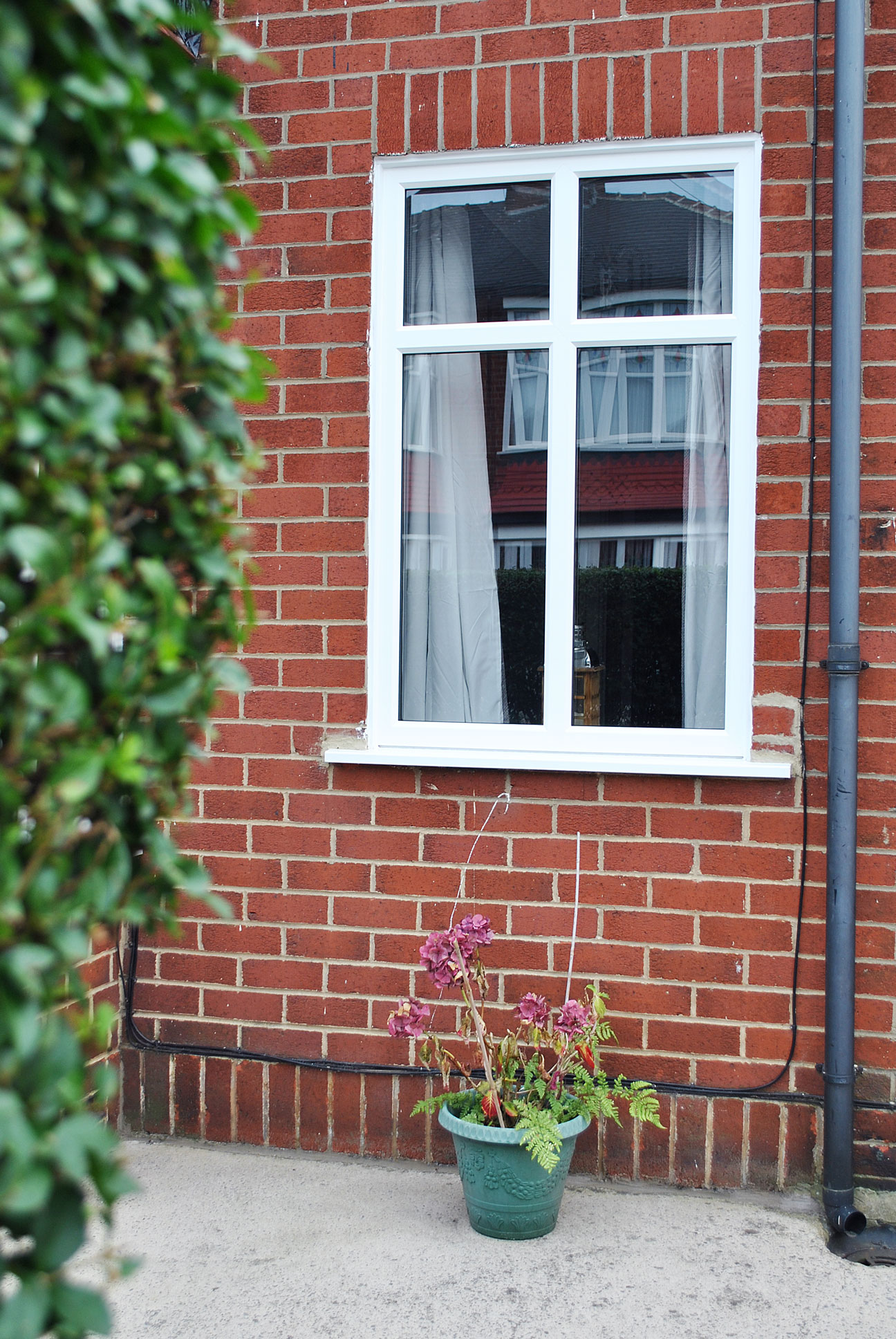 White Casement Window with Mullion