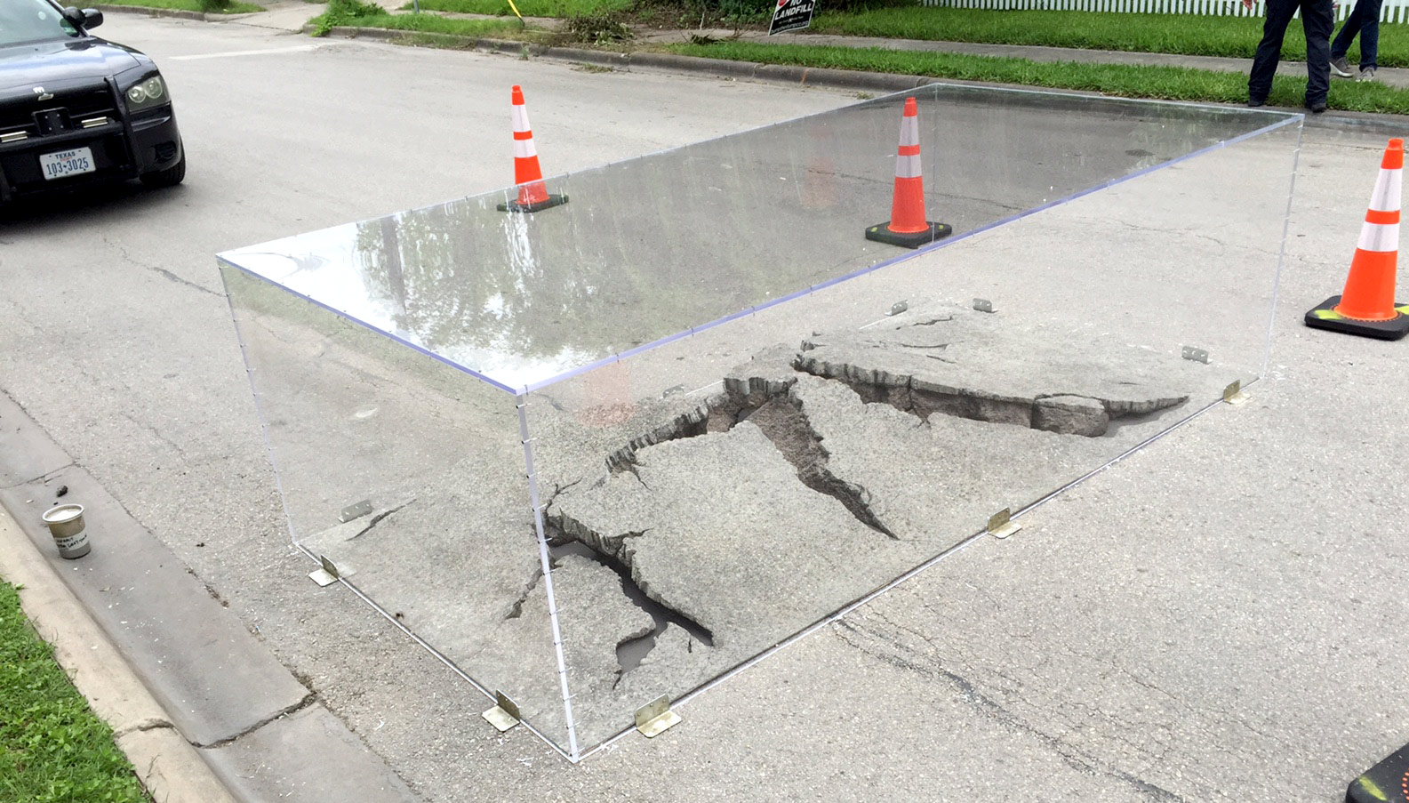 Large crack in road